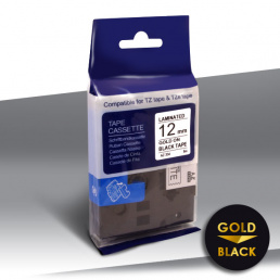 Taśma Brother TZe-334 GOLD on BLACK 24inks 12mm