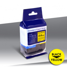 Rurka Brother HSe-651 BLACK on YELLOW 24inks 23,6mm